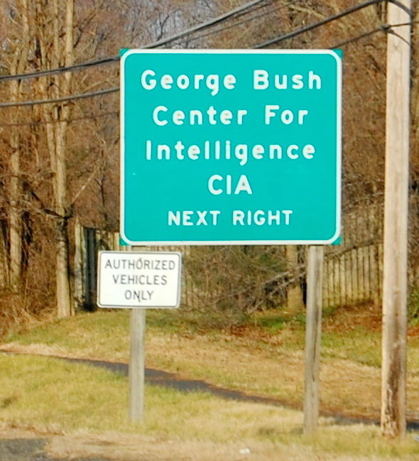 exit sign for CIA Headquarters
