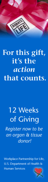 12 Weeks of Giving - Register now to be an organ & tissue donor.